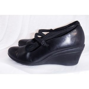Clarks Shoes - Clarks Black Leather Mary Jane Wedge